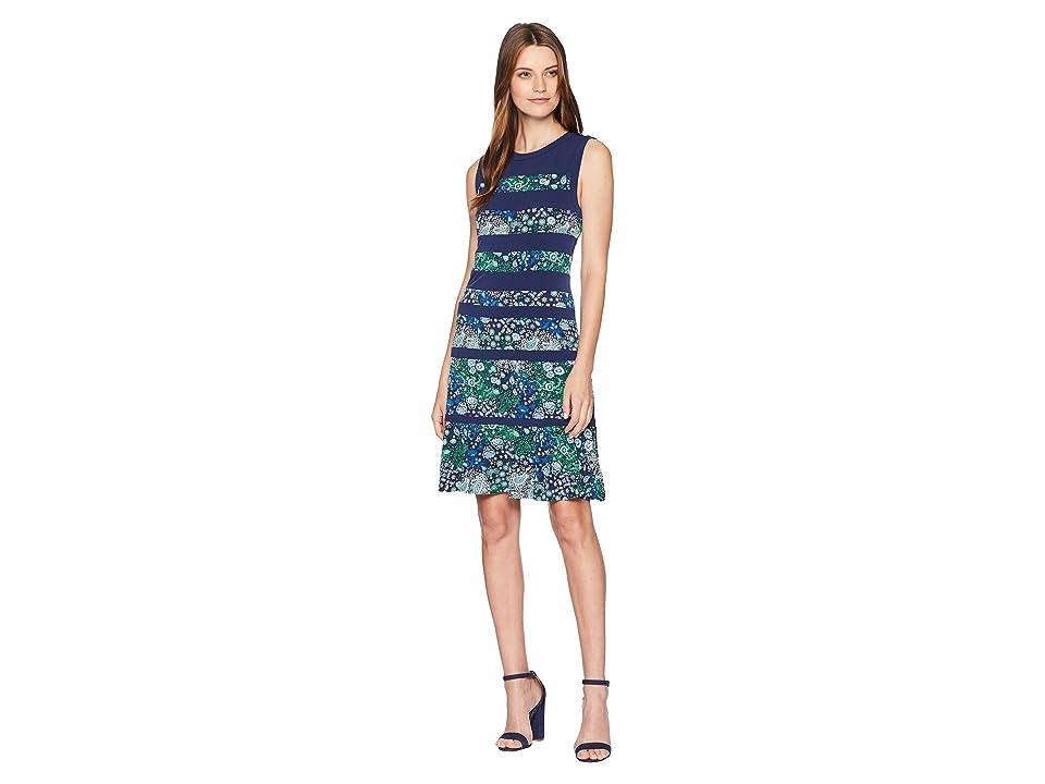 MICHAEL Michael Kors Paisley Remix Paneled Dress (True Navy Multi) Women