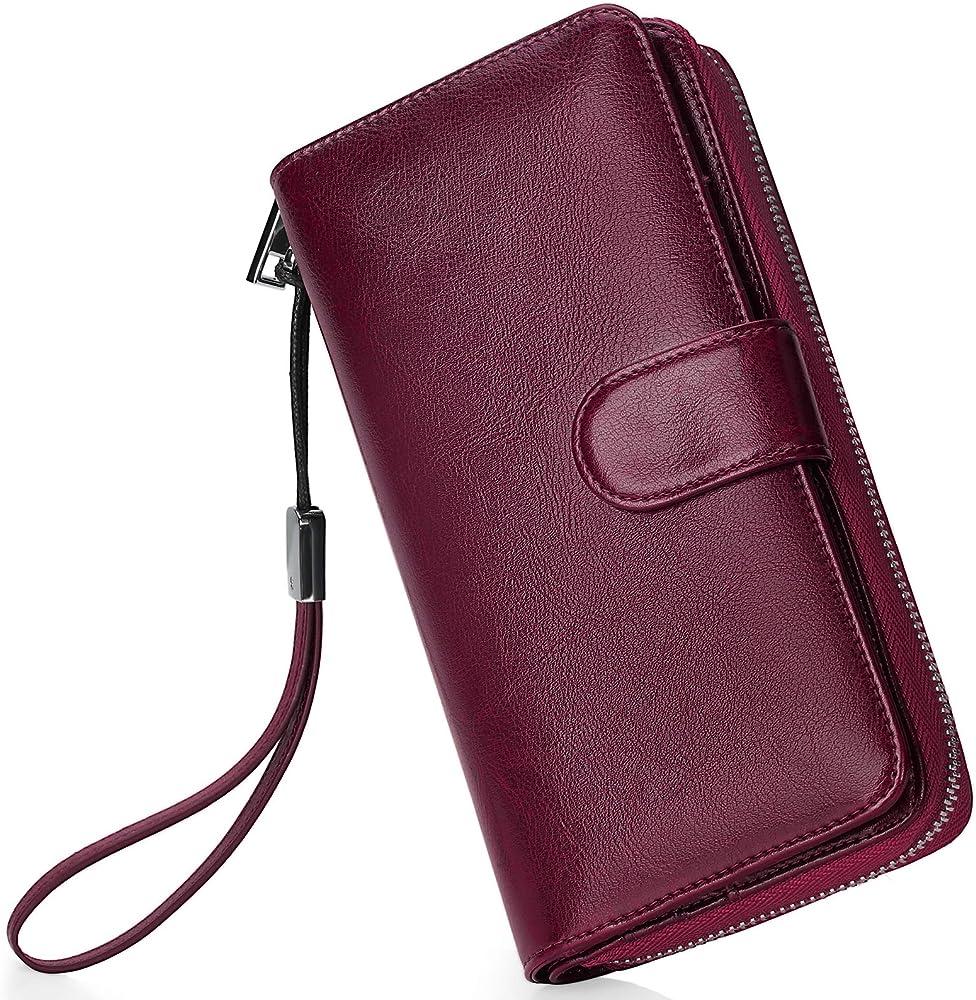 Newhey portafoglio per donna porta carte di credito protezione rfid in pelle cerata rosso2 33133