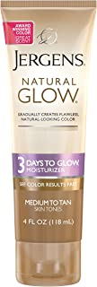 Jergens Natural Glow 3-Day Sunless Tanner, Medium to Tan Skin Tone, 4 Ounce Sunless Tanning Moisturizer, for Streak-free Color