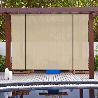 Patio Paradise Roll up Shades Outdoor Roller Shade 6'Wx6'H Shade Blind Pull Shade Privacy Screen Porch Deck Balcony Pergola Trellis Carport Beige