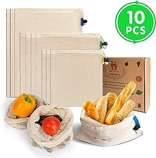 LAPPAZO Bolsas Reutilizables de Compra para Frutas Verduras Juguete y Granos, Bolsas Ecologicas Algotón Material Orgánico Degradable (3XL 3xM 3XL 1xBolsa Cereales)