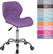 Desk Chair,Office Chair Adjustable Height Computer Chair PU Leather Padded Swivel Chair,Home/Office Furniture (Purple, Fab...