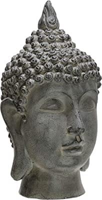 "Sagebrook Home 20"""" Buddha Head, Gray, 11 x 10 x 20 (15124)"