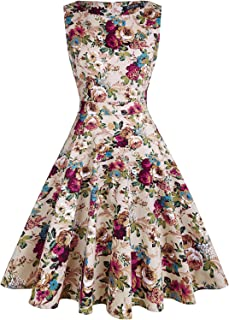 Women's Vintage 1950s Tea Dress Floral Spring Garden Party Rockabilly Cocktail Swing Dresses