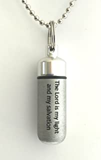 Classic Brushed Silver ANOINTING OIL HOLDER/Vial Necklace with ENGRAVED '