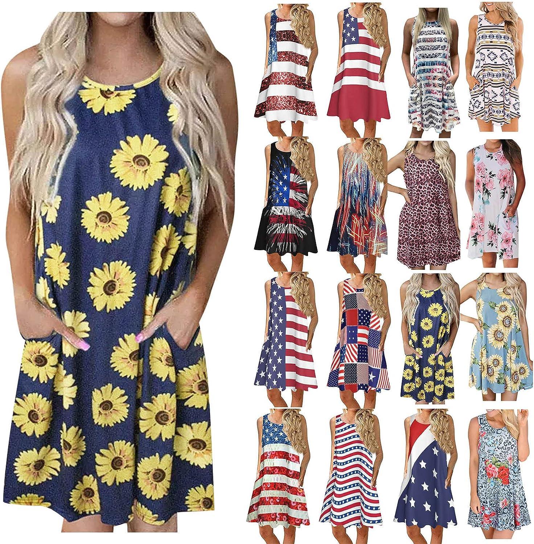 Smooto Summer Dresses Sleeveless Ameaican Flag Print with Pockets Midi Dress