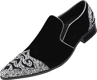 Mens Exotic Sparkle Hot Pink Print Slip On Velvet Smoking Slipper Embellished Loafer Glitter Toe & Heel Slip On Dress Shoe, Style Bannon