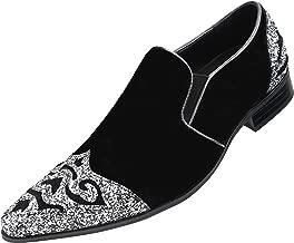 Amali Mens Exotic Sparkle Hot Pink Print Slip On Velvet Smoking Slipper Embellished Loafer Glitter Toe & Heel Slip On Dress Shoe, Style Bannon