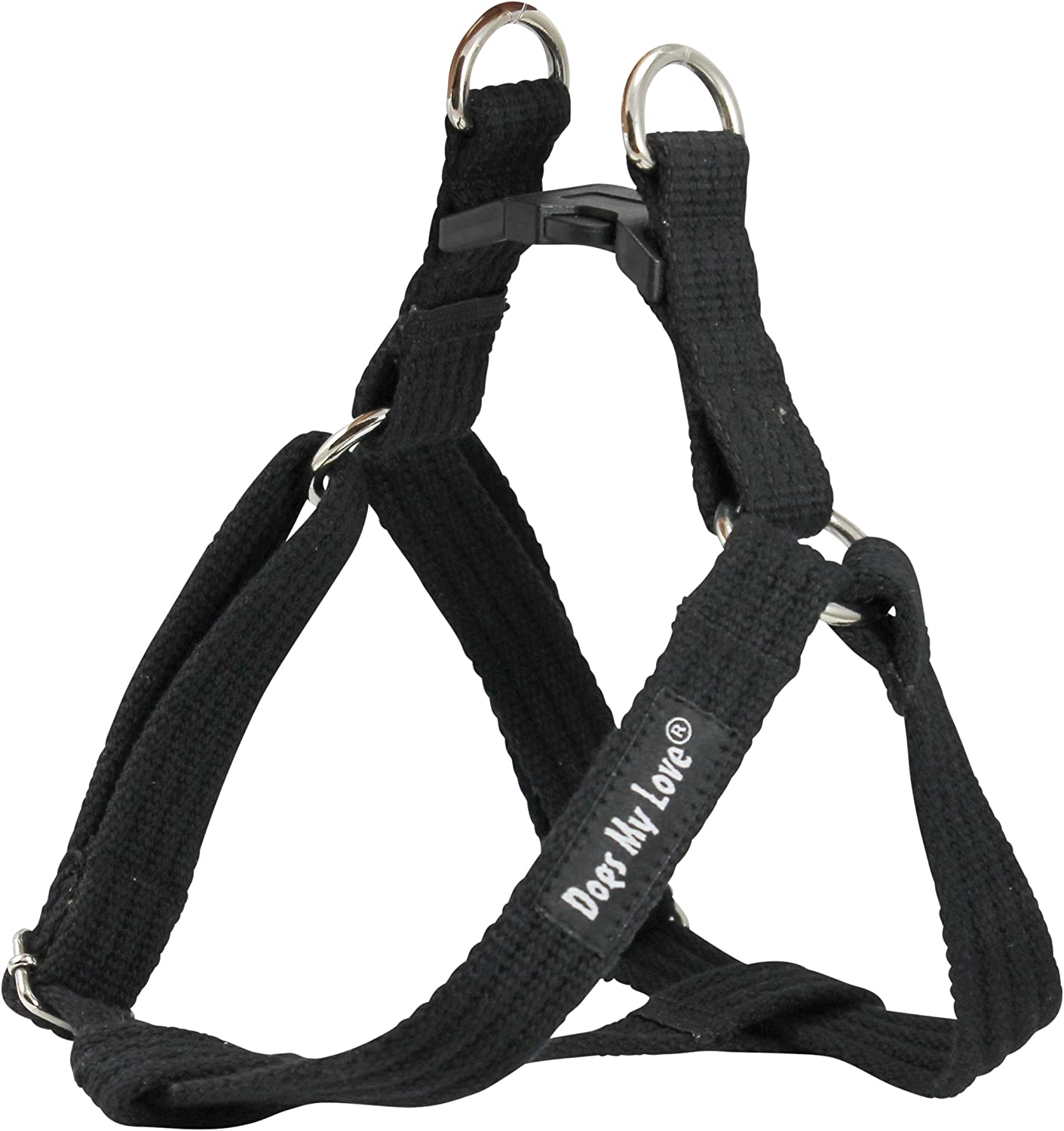 Cotton Web Adjustable Dog Stepin Harness 4 Sizes Black (Small  8 13.5  Chest; 5 8  Wide)