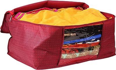 Story@Home Set of 12 Piece Non Woven Saree Cover Set/Wardrobe Organiser/Regular Clothes Bag Front Transparent Window/Storage Bag Big - Checkered, Maroon