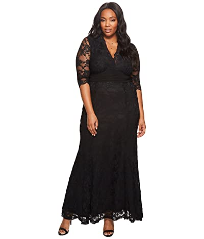 Kiyonna Screen Siren Lace Gown (Onyx) Women