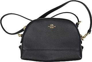 Womens F76673 Leather Dome Crossbody Bag, Black