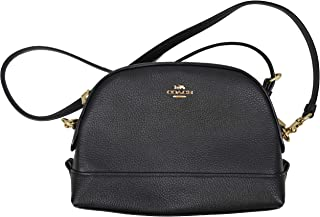 Coach Womens F76673 Leather Dome Crossbody Bag, Black