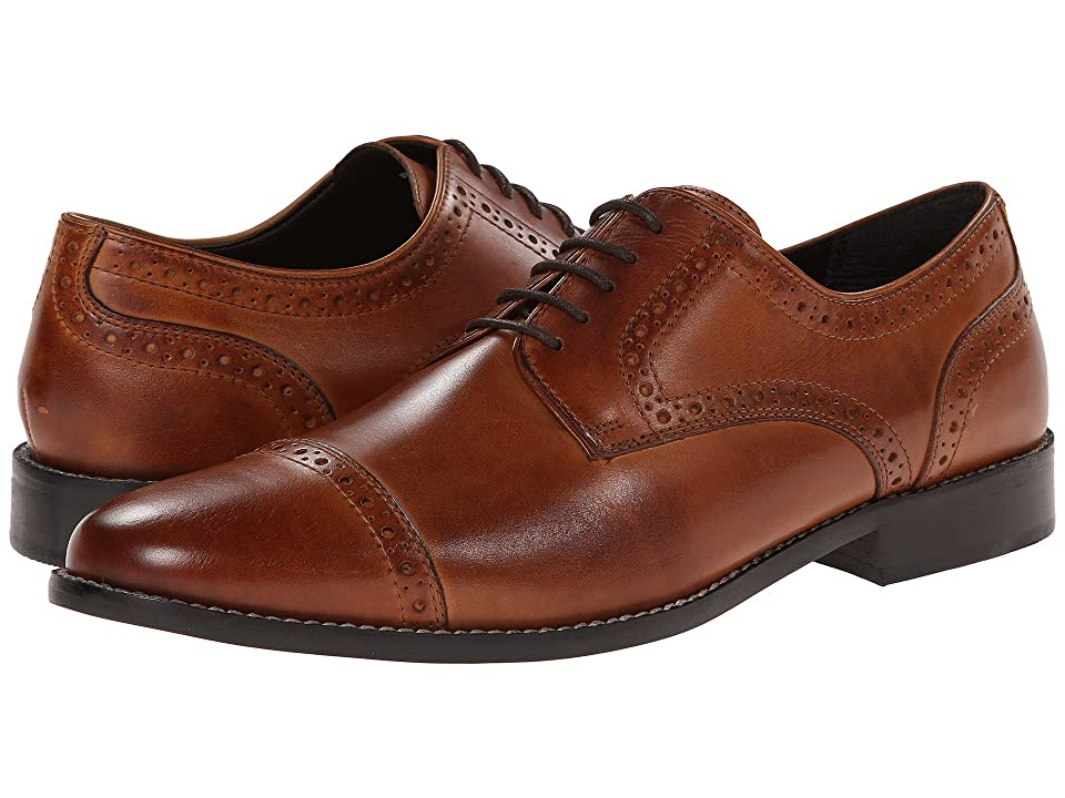 1920s Style Mens Shoes | Peaky Blinders Boots Nunn Bush Norcross Cap Toe Dress Casual Oxford Cognac Mens Lace Up Cap Toe Shoes $90.00 AT vintagedancer.com