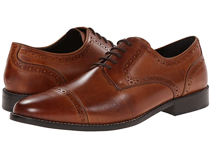 Edwardian Men's Shoes & Boots | 1900, 1910s Nunn Bush Norcross Cap Toe Dress Casual Oxford Cognac Mens Lace Up Cap Toe Shoes $69.95 AT vintagedancer.com