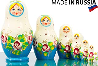 Russian Nesting Doll Dolls - Hand Painted in Russia - 5 Color/Size Variations - Traditional Matryoshka Babushka (4.75``(7 Dolls in 1), Floral A)