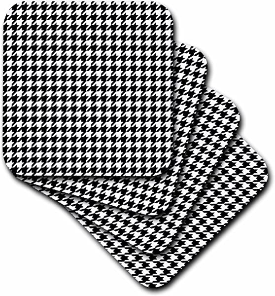 3dRose LLC Cst 35482 1 Black And White Houndstooth Soft Coasters Set Of 4