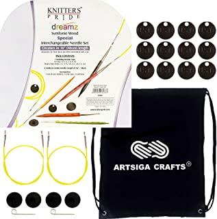 Knitter`s Pride Knitting Needles Dreamz Special 16 inch Interchangeable Short Tip Set Bundle with 1 Artsiga Crafts Project Bag 200608