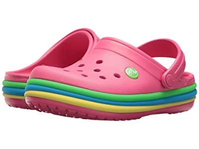Crocs Kids Crocband Rainbow Band Clog (Toddler/Little Kid) (Paradise Pink) Kids Shoes