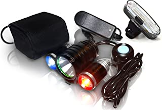 Stupidbright Night Provision PS1200v2 Front & Rear Police Bike Light Set: 1200 Lumens - Rechargeable 18hr Max - Water Proof - 5 Modes - Red/Blue Strobe LED - Real Police Patrol Lights for Bicycles