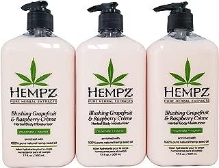 Hempz Blushing Grapefruit & Raspberry Creme Herbal Body Moisturizer Lotion 17oz (Pack of 3)