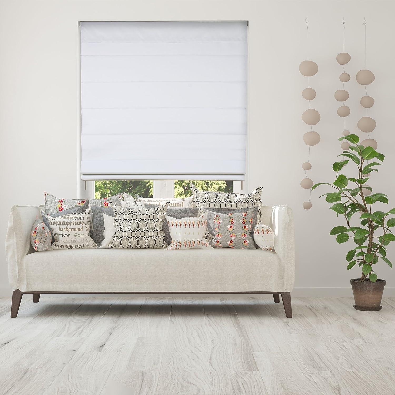 Calyx Interiors Blackout White Cordless Lift Fabric Roman Shades, 34 W x 60 H