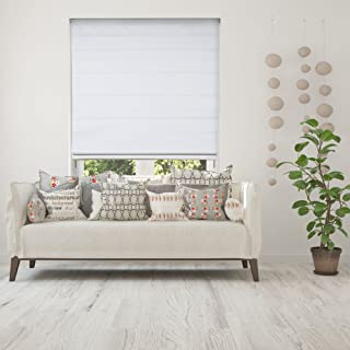Calyx Interiors Cordless Lift Fabric Roman Shades in Size 24-Inch Width x 72-Inch Height Color Blackout White