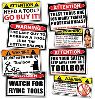 Funny Toolbox Warning Decal Sticker Tool Box Pack Set – By 215 Decals