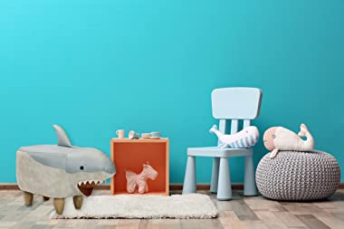 """CRITTER SITTERS 15"""" Blue/White 14"""" Seat Height Animal Shark-Faux Leather Look-Durable Legs-Furniture for Nursery, Bed"""