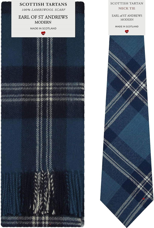 Earl Of St. Andrews Tartan Plaid 100% Lambswool Scarf & Tie Gift Set