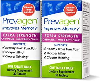 Prevagen Improves Memory - Extra Strength 20mg, 30 Chewables |Mixed Berry-2 Pack| with Apoaequorin & Vitamin D | Brain Sup...
