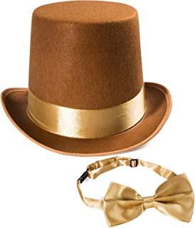 Tigerdoe Costume Hats - Top Hat w/Bow Tie - Steampunk Glasses - Costume Accessory Set - Brown Hat w/Neck Tie