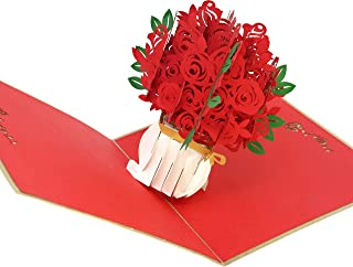 PopLife Red Rose Bouquet 3D Pop Up Mothers Day Card - Anniversary Pop Up Valentines Day, Happy Birthday, I'm Sorry - Gift for Her - Folds Flat for Mailing - for Mother, for Daughter, for Wife, for Mom