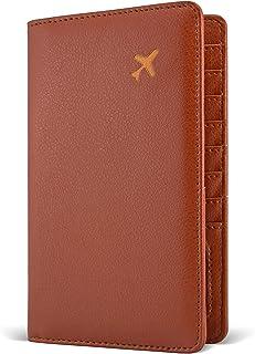 Passport Holder by POCKT - RFID Blocking Travel Wallet for Safe Trip, Gift Box, ID Card Window, Credit Card Holder | Brown