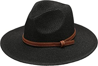 Women's Braid Straw Wide Brim Fedora Hat UPF 50+ w/Adjustable Drawstring