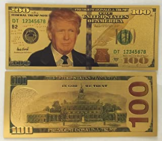 Authentic $100 President Donald Trump Authentic 24kt Gold Plated Commemorative Bank Note Collectors Item by Aizics Mint