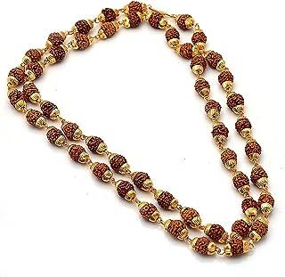 Charms Rudraksh Mala Shiva God Gold Plated Rudraksh Long Mala Chain 28 inches for Men (Golden)(MALA-01ef)