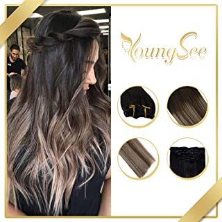 YoungSee 18inch Remy Human Hair Clip in Hair Extensions Natural Black Fading to Dark Brown Fading to Caramel Blonde Balayage Clip in Human Hair Extensions 120G 7Pcs