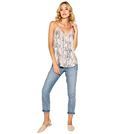 LAVENDER BROWN Snake Printed Cami with Lace Detail (Taupe Multi) Women