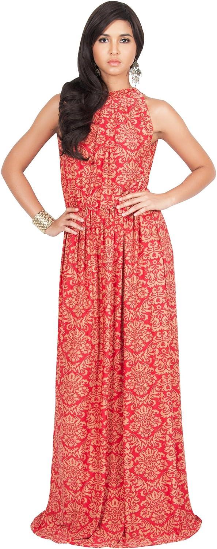 KOH KOH Womens Long Sexy Sleeveless Summer Formal Flowy Print Casual Maxi Dress