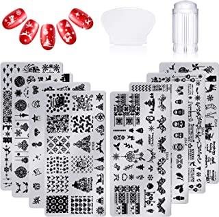 8 Pieces Nail Stamping Plate Christmas Nail Art Templates Kit, 1 Clear Nail Art Stamper and 1 Plastic Scraper with Santa Snowflake Reindeer Stocking Pattern Image Plates