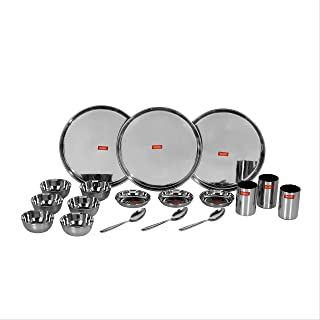 Sumeet Stainless Steel Heavy Gauge Mirror Finish Dinner Set Of 18 Pcs 2.4 Ltr Silver