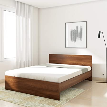 Amazon Brand - Solimo Medusa Engineered Wood Queen Size Bed Without Storage - (Walnut Finish_Brown)