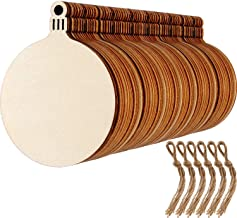 60 Sets Round Wood Slices Blank Wood Discs Wood Baubles Pendant Ornaments