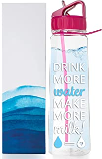 vBU Water Bottle for Breastfeeding Moms 30 oz Goal Marked Time Water Tracker Measure Water Intake Daily. Motivational - Drink More Water Make More Milk,BPA-Free, Straw, flip top, Carrying Loop