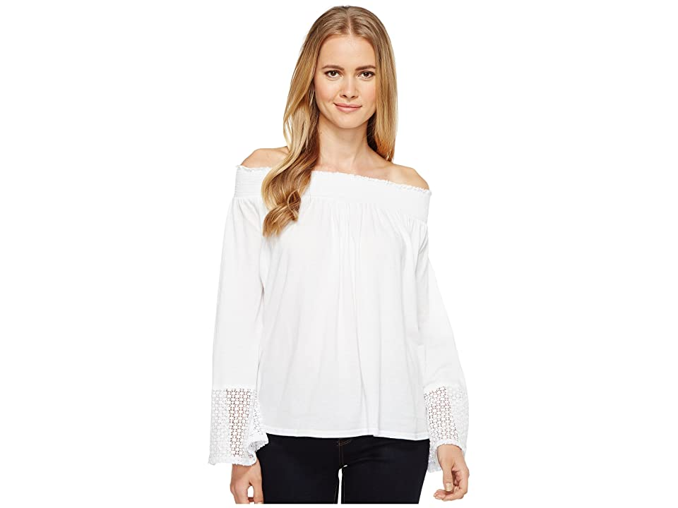 Three Dots Trellis Lace Peasant Top (White) Women