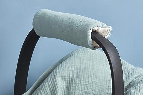 Kraftkids Armschoner Für Babyschale In Musselin Blau Tragegriff Mit 28 Cm Länge Armpolster Für Angenehmes Tragen Der Babyschale Baby