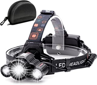 Cobiz Headlamp, Brightest High 6000 Lumen LED Work Headlight,18650 USB Rechargeable Waterproof Flashlight with Zoomable Work Light,Head Lights for Camping,Hiking,Outdoors