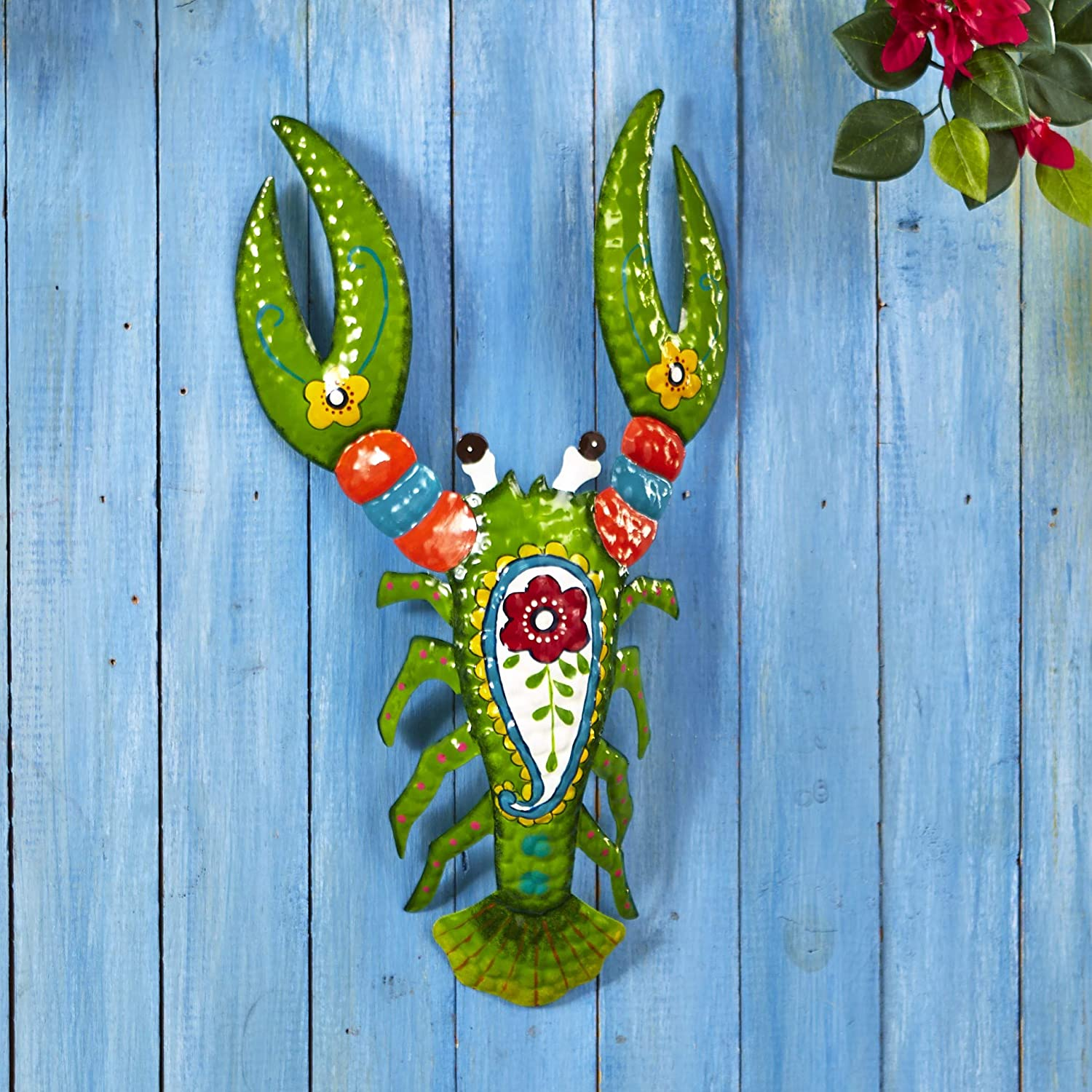 Decorative Metal Lobster Sculpture - Tropical Themed Home Accent