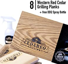 CEDAREO Cedar Grilling Planks - 8 Cedar Planks for Grilling Salmon Steaks and Vegetables - Fish and Barbecue Smoking and Grilling Accessories Size 15